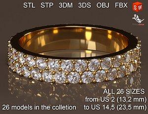 Infinity diamond ring 3D model