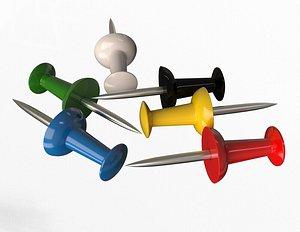 Assorted Colors Push Pins 3D model