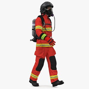 Firefighter Rescuer Rigged for Cinema 4D 3D model