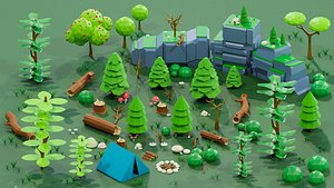 Small Natural Low Poly Pack model