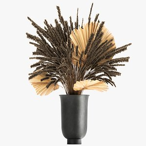 3D Bouquet of dried flowers in a vase 166