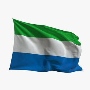 Realistic Animated Flag - Microtexture Rigged - Put your own texture - Def Sierra Leone model