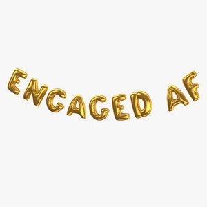 Foil Baloon Words ENGAGED AF Gold 3D model