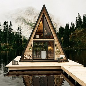 lake house a-frame wood model