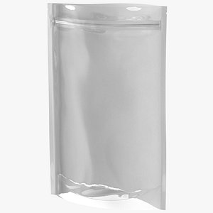 Zipper White Paper Bag with Transparent Front 220 g Open Mockup 3D