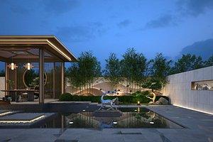 Landscape design square back garden villa sika deer sculpture bamboo 3D model