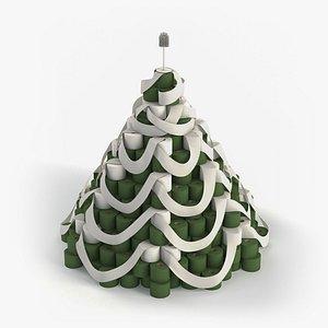 tree paper christmas toilet 3D