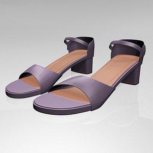 3D model stylish round-toe block-heel sandals