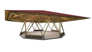 BAMBOO CANOPY GEODESIC BAKED model