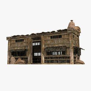 3D Ancient log cabin