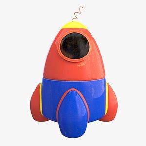 Retro wooden toy rocket 3D model