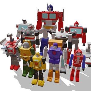 3D transformers g1 robots model