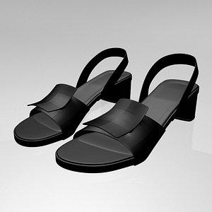 3D stylish round-toe chunky-heel sandals
