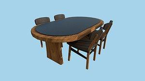 Wood Leather Dinning Table 38 - Furniture Interior Design 3D model