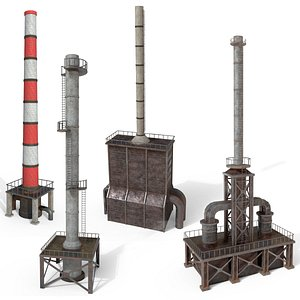 3D Industrial pipes of a chemical plant