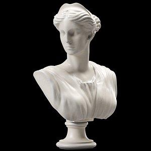 Artemis Bust Ancient Greek Goddess of Hunt 3D model