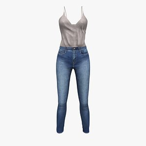 Tucked in Loose Top and Jeans 3D model