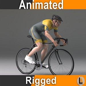 3D model cyclist athletic human