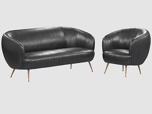 souffle chair ruched leather 3D model