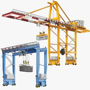 Two Gantry Shipping Containers Cranes 3D model