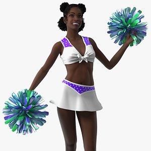 Teenage Black Girl Cheerleader Rigged 3D model
