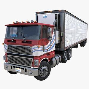 Industrial cabover trailer PBR 3D model