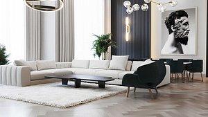 3D living room loft style