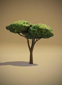 3D Cartoon Acacia Tree 3D Model