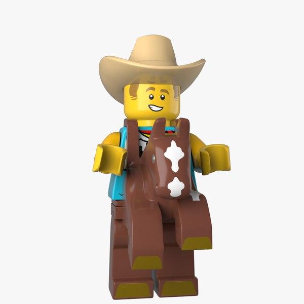 3D LEGO Cowboy Costume Guy 3d model model