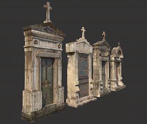 mausoleum entrances lined 3D