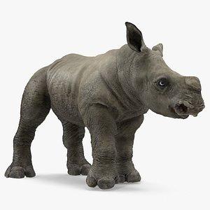 3D baby rhino standing pose model