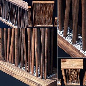 Screen wall branch pebble n1 3D model