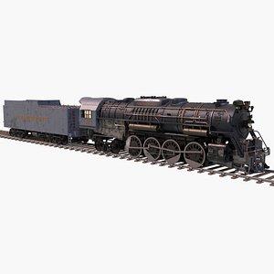 3D Pere Marquette 1225 locomotive train