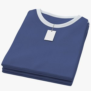 3D Female Crew Neck Folded Stacked With Tag White and Dark Blue 02