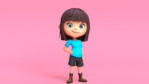 cartoon character girl 3D model