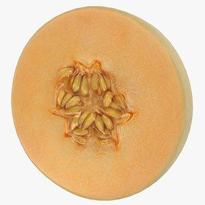 3D Round Slice Orange Honeydew Melon model