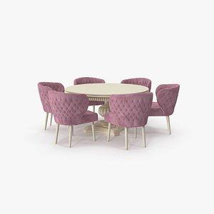 Pink Fabric Velvet Dining Set for 8 Persons 3D model