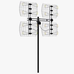 UHF Long Range Multi Directional Bowtie TV Antenna 3D model