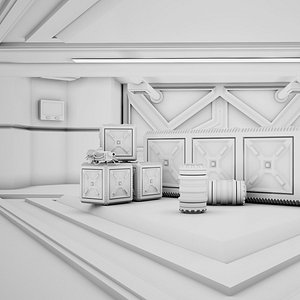Sci-fi Corridor 05 Clay 3D model