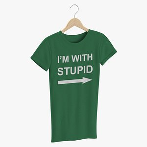 3D Female Crew Neck Hanging Green Im With Stupid 01 model