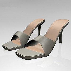 3D model stylish peep-toe high-heel slide