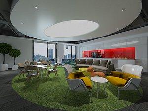 3D Reception room, lounge area, living room, office sofa model