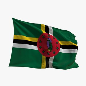 Realistic Animated Flag - Microtexture Rigged - Put your own texture - Def Dominica model