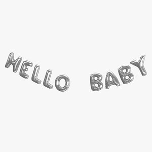 3D model Foil Baloon Words Hello Baby Silver