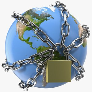 3D stylized chains lock earth world