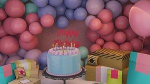 3D Happy Birthday Party Decoration 3D model model