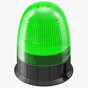 3D warning beacon light green model