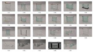3D Glass Fence Railing model