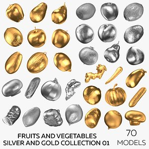 3D Fruits and Vegetables Silver and Gold Collection 01 - 70 models model