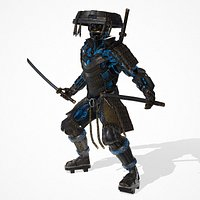Cyborg Samurai low-poly 3D model